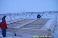 Начало строительства. Монтаж обвязочного,  лагового венцов